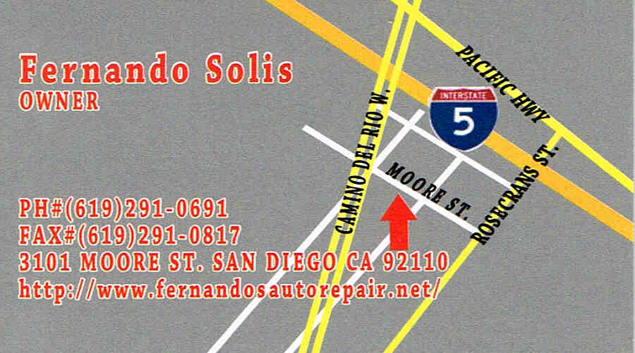 directions to Fernando's Auto repair, San Diego, CA